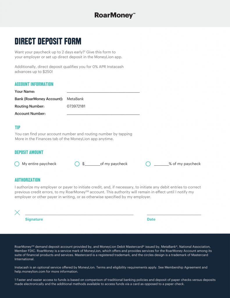 MoneyLion Direct Deposit 1
